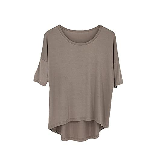 Primavera y Verano para Mujer, Nueva Camiseta Simple de Media Manga, Color sólido, Camisa de murciélago más Delgada, Blusa Suelta de Talla Grande