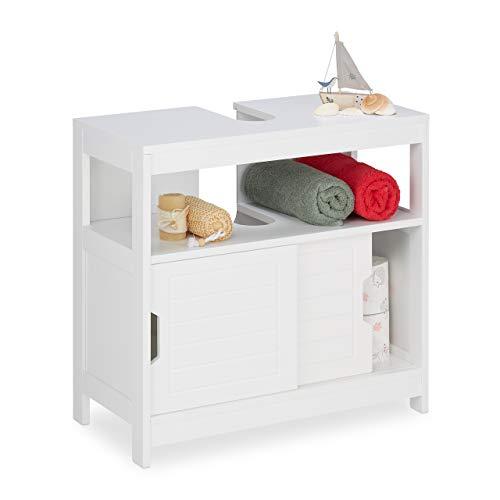 Relaxdays Mueble bajo para Lavabo, 2 Compartimentos, Puertas correderas, Corte de sifón, Armario para baño, 60,5 x 60 x 30 cm, Color Blanco