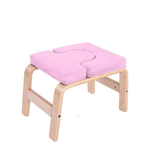 CURVEASSIST Pilates Kopfstand Bank U-förmige-Buche-PU Yoga-Hocker Multifunktionale Hilfs-Inverted-Fitness-Stuhl Bequeme Heimausrüstung Pink,Pink-OneSize