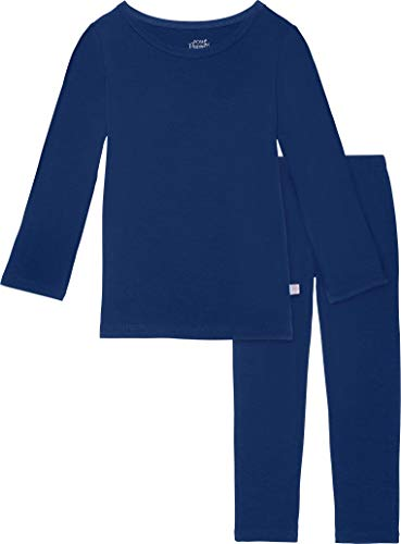 Two Piece Baby Pajamas Set - Loungewear Buttery Soft Viscose from Bamboo - Premium Knit Baby Girl Clothes (5T, Sailor Blue) Blue Infant Two Piece