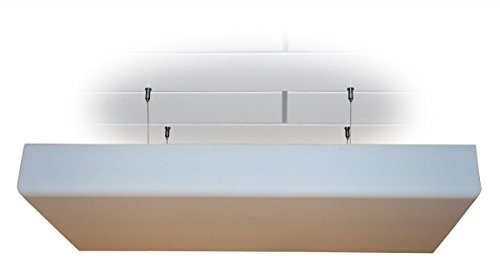 Manufactur Schaumstoffe Wegerich Deckensegel Absorber Akustik Schaum Dämmung mit Dekor-Kante aus BASOTECT® weiß DIN4102 Maße: 100 x 50 x 5cm mit Edelstahl-Halterung