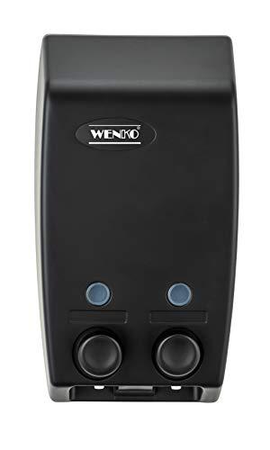 WENKO Dispensador de gel dos depósitos Varese - Dispensador de jabón líquido Capacidad: 0.9 l, Plástico (ABS), 13.5 x 25 x 8 cm, Negro