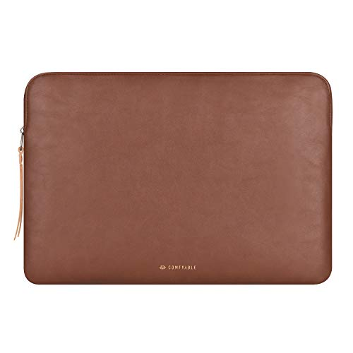 Comfyable Slim Protective Laptop Sleeve 13-13.3 inch for MacBook Pro & MacBook Air, PU Leather Bag Waterproof Cover Notebook Computer Case for Mac, Brown