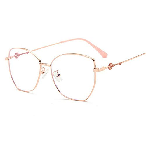NJKJ Anteojos Gafas Graduadas Con Lente Poligonal Para Miopía Con Bloqueo De Luz Azul Gafas Miopes De Metal Para Mujer 0-0.5 -0.75 A -6.0-Rose_Gold_Custom_Prescription