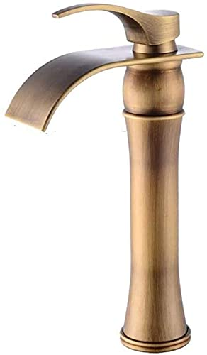Grifo de baño retro en cascada Grifo de una sola palanca Lavabo sobre encimera Lavabo con caño alto latón, dorado
