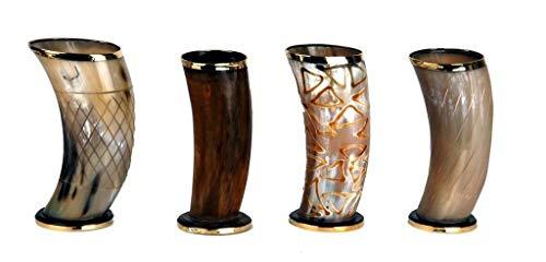 Set von 4zeremonielle 15,2cm Wikinger Trinkhorn Becher Tassen für Ale Bier Wein Mead Geschenk