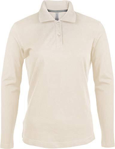 Kariban Damen Piqué Poloshirt Langarm - Light Sand, L, Damen