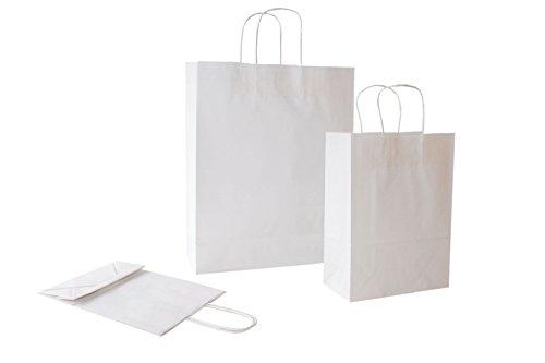 PGV Papiertragetaschen mit Kordel Weiss - Verschiedene Größen und Mengen (22 + 10 x 29 cm, 25 Stück)
