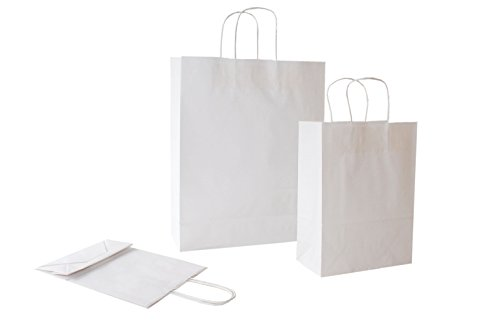 PGV Papiertragetaschen mit Kordel Weiss - Verschiedene Größen und Mengen (32 + 13 x 41 cm, 25 Stück)