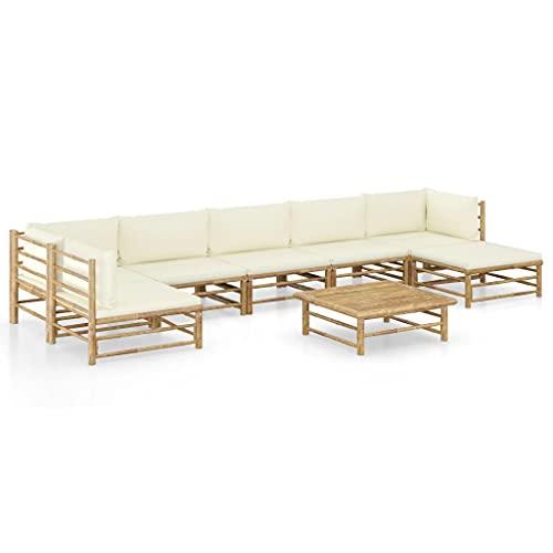Beyamis Set de Muebles de jardín 8 Piezas bambú y Cojines Blanco Crema