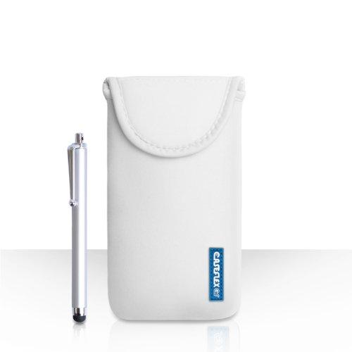 Hülleflex Kompatibel FürWiko Darkmoon Tasche Weiß Neoprene Beutel Hülle Mit Handgriffel Stift