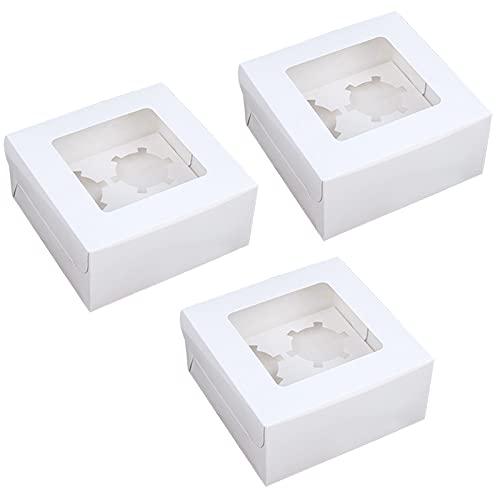 Tomedeks Caja De Regalo De Pastelería De Cartón Blanco De 12 Piezas, 16 * 16 * 7,5 Cm, Puede Contener 4 Cupcakes, Cajas De Cartón Desechables Para Galletas, Pasteles, Postres, Regalos