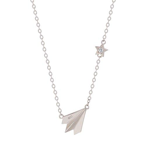 ZMLSXU Collar de Aviones Artificial Zircon Cadena de Cuello Extensión Ajustable Plata Torque Personalidad de Moda Colgante de Aviones Give You'r Girl Silver White