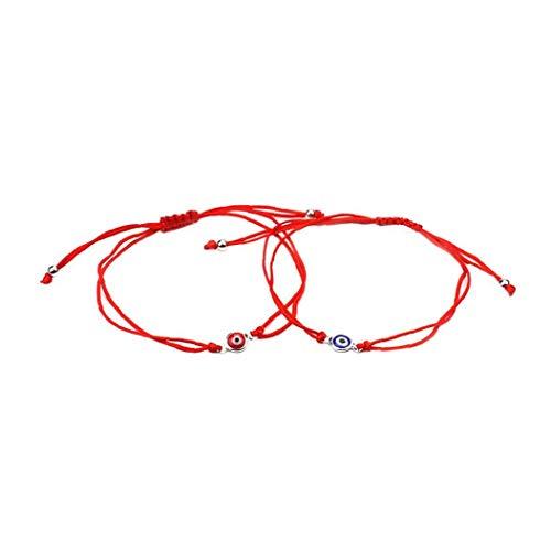 Odoukey 2 Pcs Pulsera del Ojo Malvado Afortunado Brazalete de la Trenza de Ojos cordón Ajustable Cuerda Pulsera Pulsera de la Amistad Conjunto de joyería Hombres Mujeres Azul Rojo