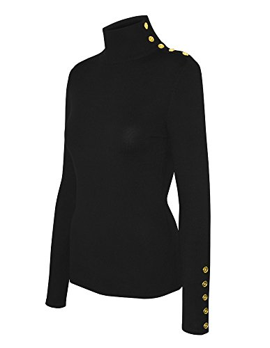 Cielo Women's Solid Stretch Turtleneck Buttons Pullover Knit Sweater Black M
