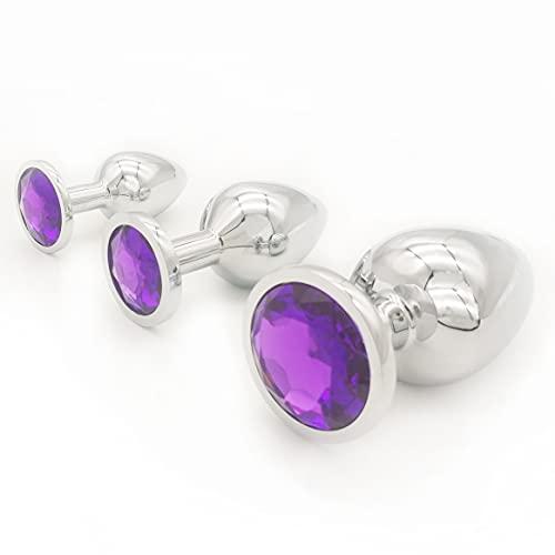 3PCS/Set Round Stainless Steel Gemstones Amàl Pl'ùg Starter Kit Cosplay Props Bûtt Pl'ug Beads for Women Adūlt Sxx Tōy Begịnners Starter for Women-Purple