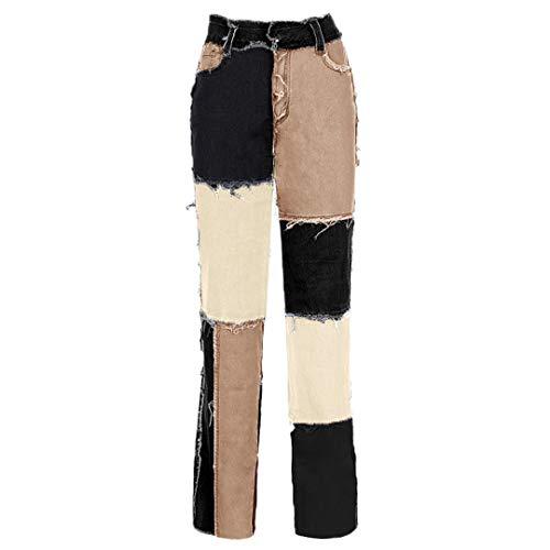 JCNHXD Pantalones Vaqueros Rectos de Retazos para Mujer Pantalones de Pierna Recta con borlas Pantalones de Mezclilla Holgados de Cintura Alta Streetwear Black S