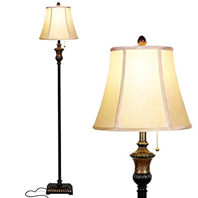 Brightech Sophia LED Floor Lamp - Free Standing Elegant Style - Tall Pole Light for Living Room, Office Or Bedroom- Rustic Upright Light with Bell Fabric Shade - LED Bulb Included - Bronze