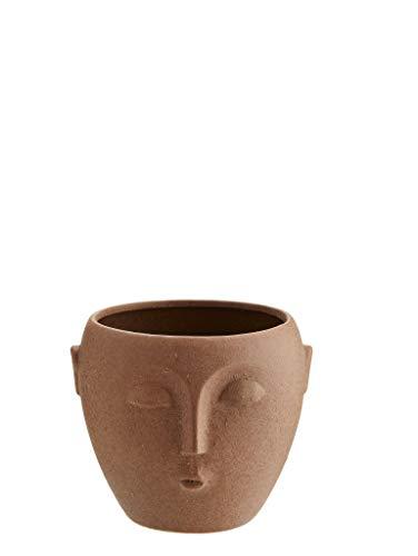 Madam Stoltz - Vaso da fiori in terracotta con stampa del viso, 14 x 12 cm