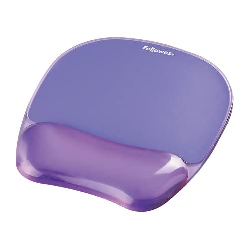 Fellowes Tapis de souris repose poignet Crystal Gel, tapis de souris ergonomique, en gel transparent violet, 9144104