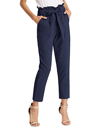 KANCY KOLE Women's Plus Size Slacks High Waist Soft Cigarette Trousers Slim Leg Solid Pants with Pockets (Navy,XXL)