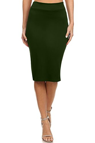 Olive Pencil Skirts for Women Olive Green for Women Reg and Plus Size (Size Small, Dark Olive)