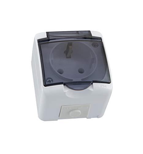 Opbouw Schuko stopcontact voor vochtige ruimtes, IP54 met afdekking rook glas 1-voudig 2-voudig of 3-voudig gemaakt in de EU wit