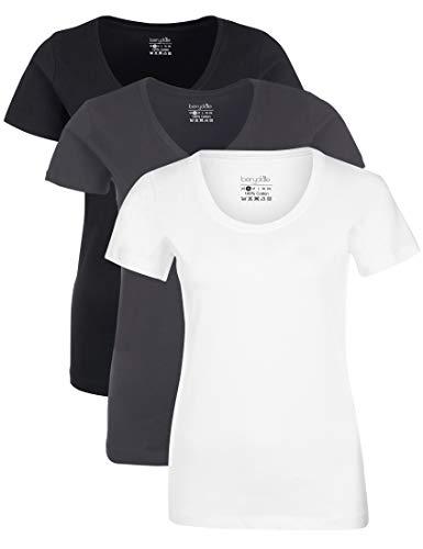 Berydale für Sport & Freizeit, Rundhalsausschnitt T-Shirt, Multicolore Schwarz/Weiß/Forged Iron), XX-Large (Taglia Produttore: 2XL), Pacco da 3
