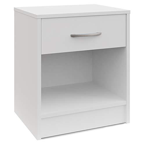 Deuba Nachttisch mit Schublade Ablagefach 50 x 40 x 35 cm Weiß Nachtschrank Nachtkommode Nachtkonsole für Boxspringbetten