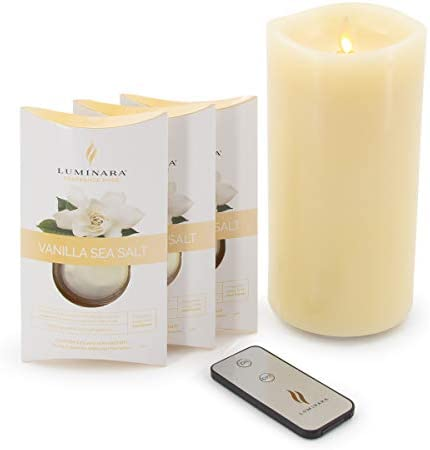 Luminara 7 5 Pillar Real Wax LED Flameless Candle with 3 Vanilla Sea Salt Pods Fragrance Diffusing product image