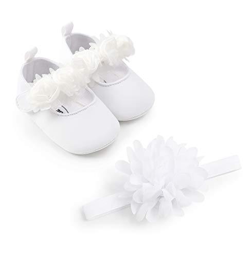 Infant Baby Girl Shoes Floral Mary Jane Flats Princess Baptism Wedding Dress Shoes Newborn Crib Shoes with Flowers Headband