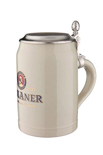 Bavariashop Paulaner Steinkrug mit Zinndeckel 0,5 Liter, Sammelkrug, Bierkrug