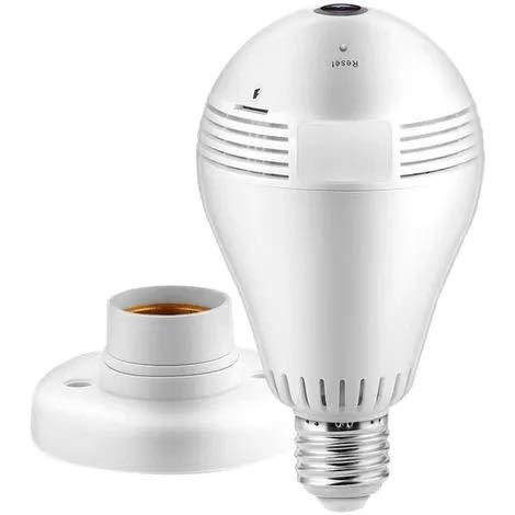 Madprice Group Ampoule lampe VR IP avec caméra sans fil, ampoule panoramique à LED, lumière infrarouge avec caméra cachée 360°