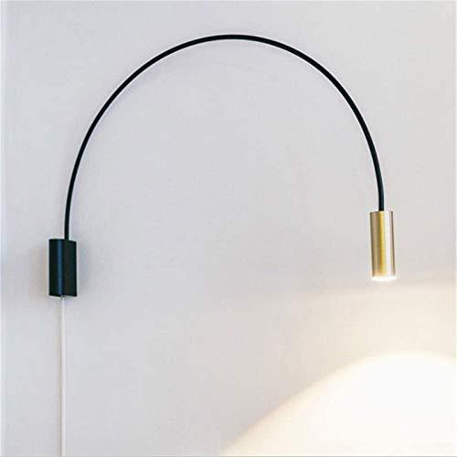 Lámpara de pared Retro Aplique, Luz de pared creativa nórdica simple accesorio moderno creativo creativo geométrico semicírculo lámpara de noche metal forjado hierro led arco redondo negro / oro lámpa