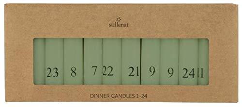 IB Laursen - Adventskerzen - Kalenderkerzen - Stabkerzen 1-24 - Farbe: Grün - 24er Set - Maße (HxØ): 11 x 2,2 cm