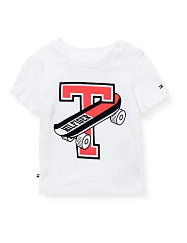 Tommy Hilfiger Baby-Jungen Skateboard Tee S/S Hemd, weiß, 62 cm