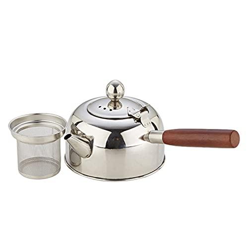 FSHB Tetera de Acero Inoxidable 500/680 Ml, Tetera Resistente al Calor con Mango de Madera, Tetera de té hirviendo, cafetera, Tetera Puer