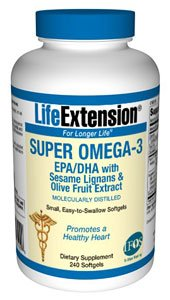 海外直送品Life Extension Super Omega-3 EPA DHA with Sesame Lignans & Olive Fruit, 240 Softgels