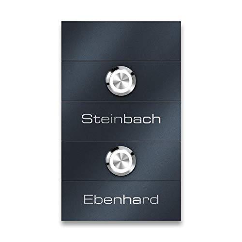 Metzler Zwei-Familien Türklingel - aus Edelstahl - mit austauschbaren Namensschildern - für Mehrfamilienhäuser - modernes Design - in Anthrazit RAL7016