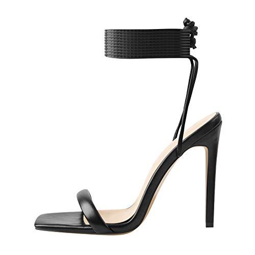 Yolkomo Women's Open Toe Lace Up Heels Square Toe Stiletto High Heel Gladiator Sandals Black Size 11