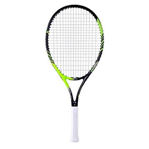 Chunjiao Raqueta de Tenis Rebote Doble Profesional Principiante Individual Y con Línea Material Compuesto de Carbono (Color : Green, Size : 27in)