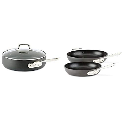 All-Clad E7853364 HA1 Hard Anodized Nonstick Dishwasher Safe PFOA Free Saute Pan Cookware, 4-Quart, Black & HA1 Hard Anodized Nonstick Fry Pan Cookware Set, 10 inch and 12 inch Fry Pan, 2 Piece, Black