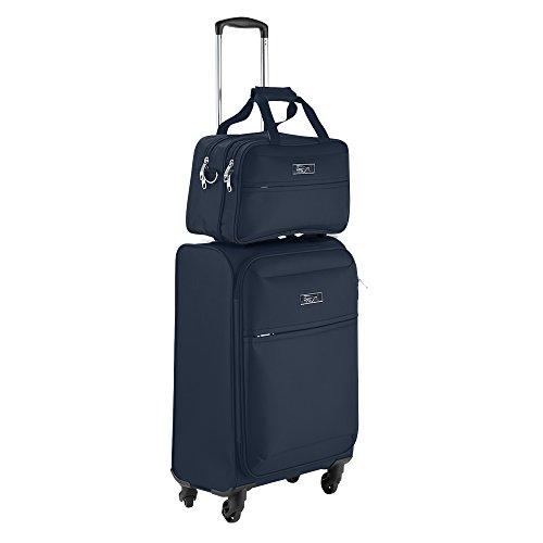 Cabin Max Copenhagen | Bagaglio a mano approvato per il volo 55x40x20cm | Inclusa piccola borsa da viaggio 35x20x20 cm(Blu Marino)