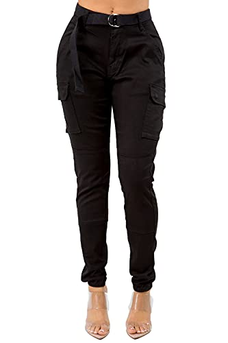 TwiinSisters Women's High Waist Slim Fit Color Cargo Joggers Pants with Matching Belt - Large, Black