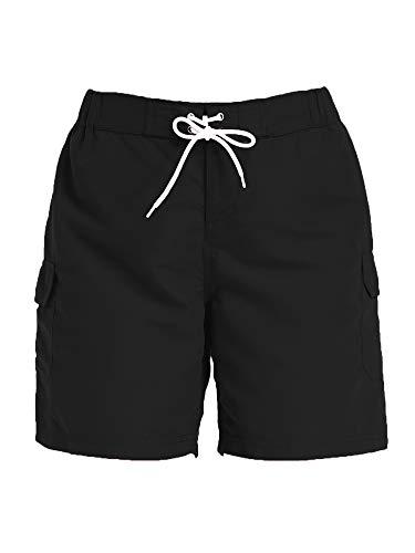 Sweet Bei J Damen Shorts Badeshorts mit Tasche Sommer Kurze Hosen Schnell Trocknendes Badehose Schwarz M