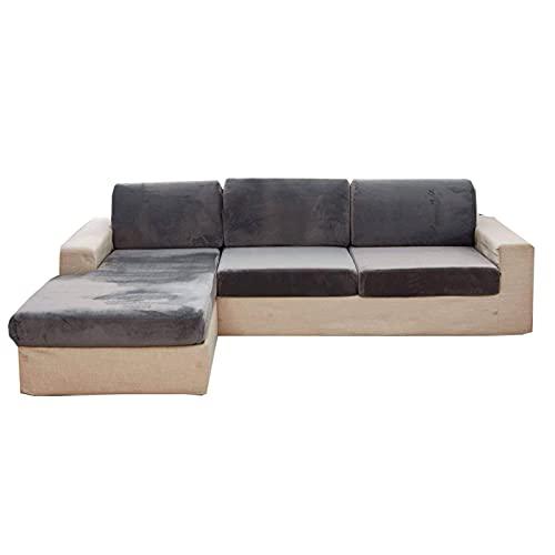 Stretch Sofa Kissenbezug,Super Soft Couch Sitzbezug Anti-Rutsch Chaise Lounge Möbelschutz Samt Plüsch Kissenbezug für L-Form Sofa Chair Loveseat Couch Sofa-1 Sitzer-hellgrau
