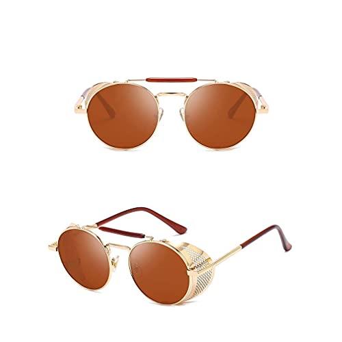 Mantimes Gafas de sol unisex SteamPunk estilo retro clásico metal redondo gafas (oro/té)