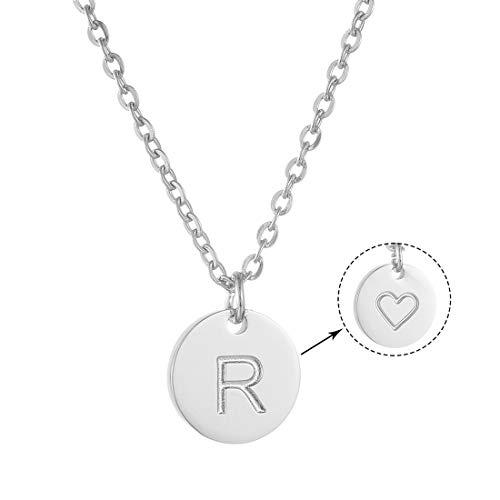 AFSTALR Colgantes Iniciales Mujer Plata Collar Letras R con Corazón Nombre Redondo Personalizado Letras Joyería Regalo de Cumpleaños