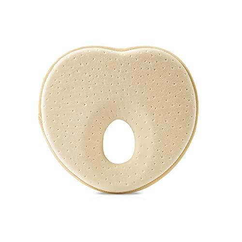 SONARIN Premium Almohada para Bebe plagiocefalia,Prevenir la almohada suave de cabeza plana,En forma de corazón,Espuma viscoelástica transpirable 3D,Para bebés de 0 a 12 meses(Amarillo)