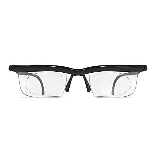 Unisex-Brillen, verstellbare Objektive von -6D bis + 3D nicht verschreibungspflichtige Objektive für kurzsichtige und weitsichtige Lesebrillen